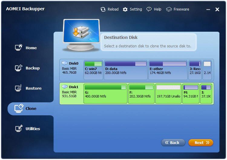 aomei backupper - clonare disco destinazione