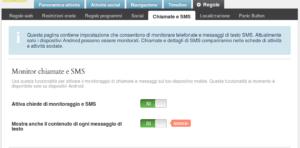 impostazioni monitor chiamate e sms