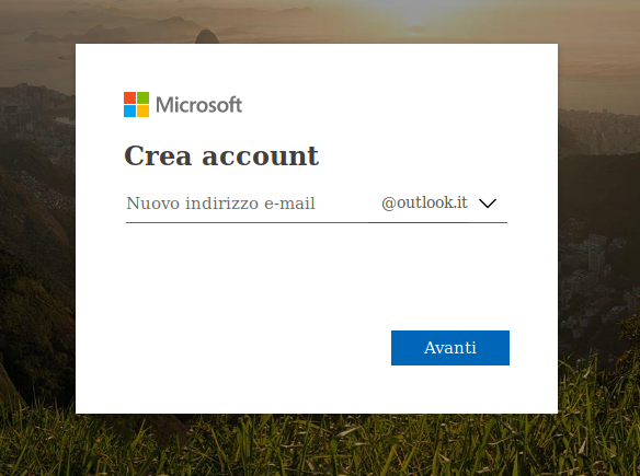 crea account outllok.it