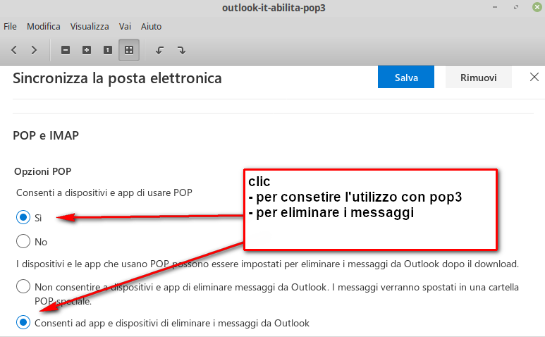 sincronizza outlook.it