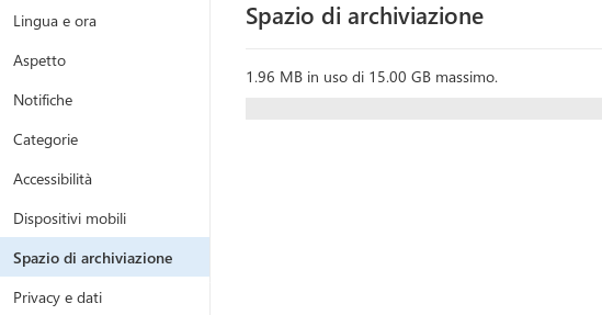 spazio archiviazione outlook.it