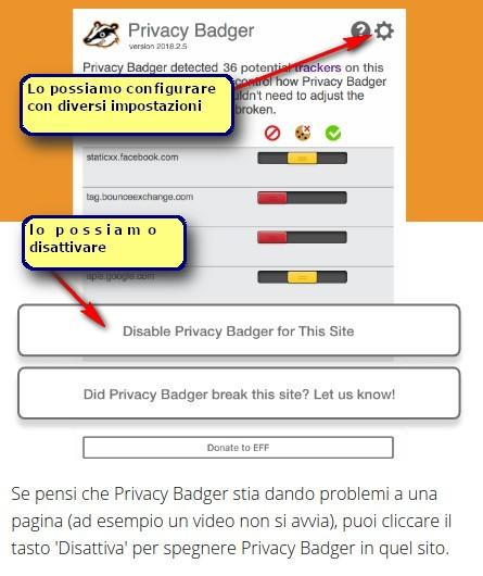 configura privacy badger