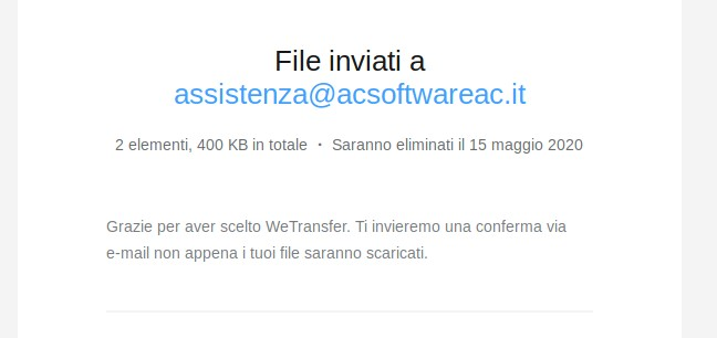 wetransfer mittente